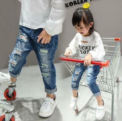 New Toddler Kids Girls Boys Ripped Jeans Fashion Trousers Pants Size