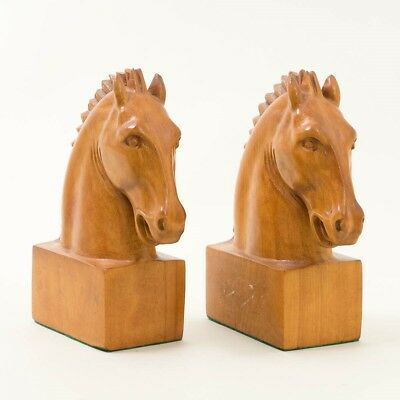"""Pair of Hand Carved Cherry Wood Horse Head Bookends 8"""" T Mantel Decor Equestrian"""