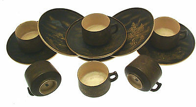 Bygone Oriental Pottery Coffee Cups Saucers Bowl Mount Fuji