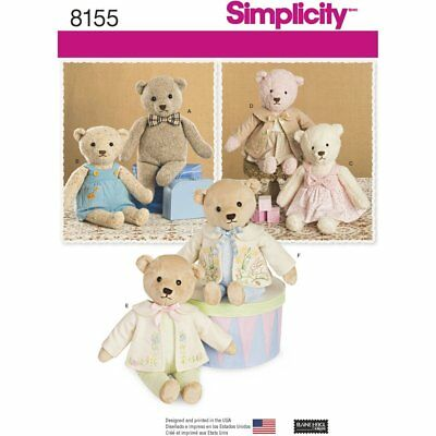 SIMPLICITY SEWING PATTERN 8155 Stuffed Toy Teddy Bears With Clothes ...