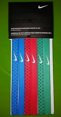 d2931aab5c7 Nike Swoosh Sport Headbands w/Silicone Blue Red Green 6 Pack One Size Fits  Most