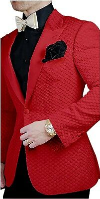 Men's Red Grid Paisley Jacket Tuxedos Groom Wedding Suit Prom Party Custom
