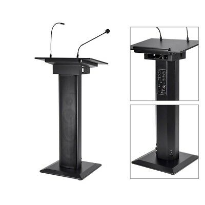 Lectern Podium w/ Built-In 60W Audio Amplifier & Speakers Microphone & LED Light