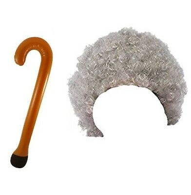Granny Old Lady Woman Oap Grandma Curly Grey Wig & Walking Stick Fancy Dress