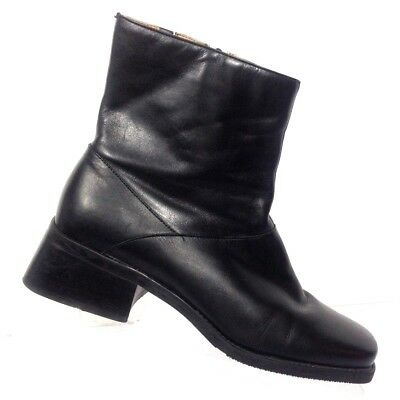 Easy Spirit Women Black Leather Vintage? Square Toe Stretch Ankle Bootie  8B/2A