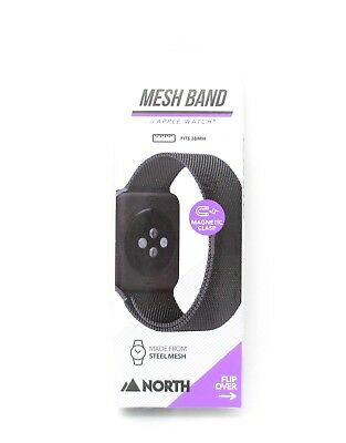 North Stainless Steel Mesh Band for Apple Watch Black Fits 38mm Adjustable