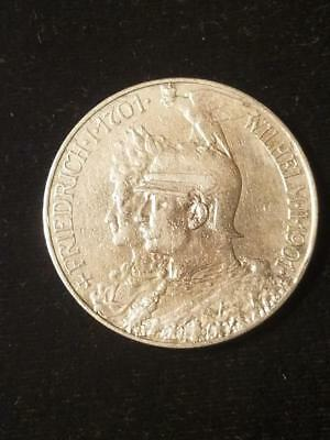 1901 Germany Prussia Silver 5 Mark Coin Cleaned