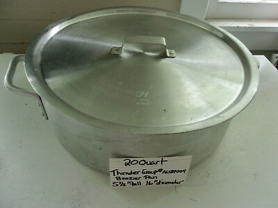 20 Quart Aluminum Brazier Pan with Cover, NSF