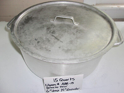 15 Quart Aluminum Brazier Roaster Pan with Cover, NSF