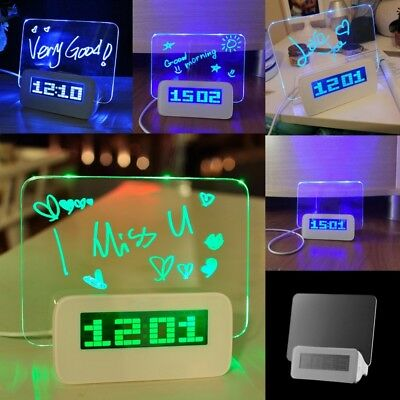 1 Pcs COOL LED Fluorescent Digital Alarm Clock with Message Board USB 4 Port Hub