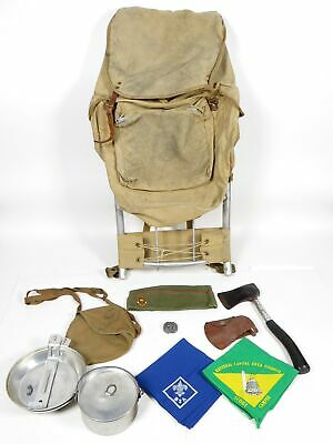Vintage BSA Boy Scouts Hiking Frame Backpack Hatchet Handkerchief Mess Kit Lot