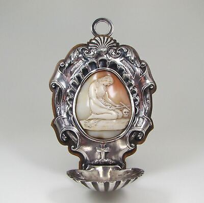 Antique 1800s Silver & Shell Cameo Saint Mary Magdalene Holy Water Font
