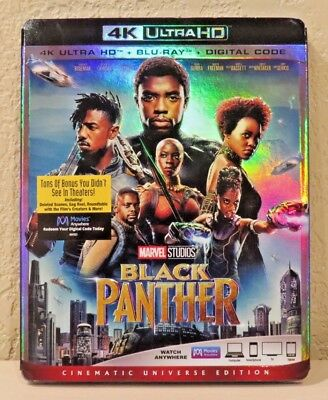Black Panther (4K Ultra HD+Blu-Ray+Digital Code, 2018) BRAND NEW>FREE SHIPPING!
