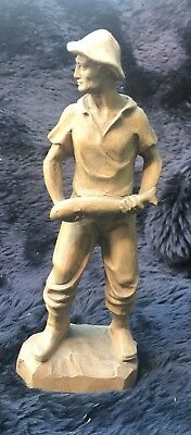 Circa 1930 Oberammergau/Black Forest Carved Wooden Figure of Man Holding Fish