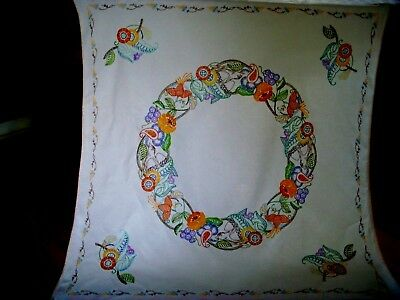 Beautiful Vintage Hand Embroidered Tablecloth Jacobean Crewel Flowers Birds