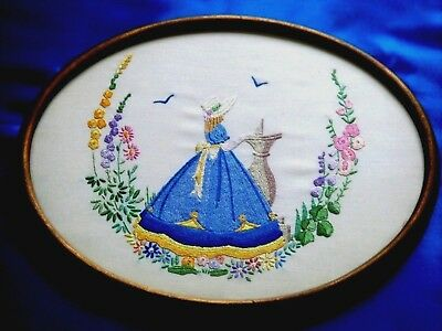 Vintage Hand Embroidered Picture Panel Beautiful Silk Crinoline Lady Flowers