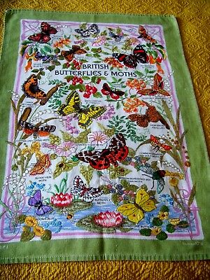 Rare Vintage Hand Embroidered Panel Tea Cloth Butterflies & Moths Flowers Lovely