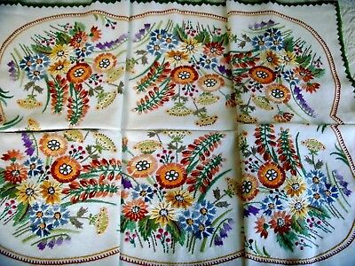 Stunning Vintage Large Hand Embroidered Tablecloth Meadow Flowers Bees Berries