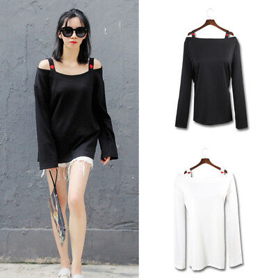 Women Heart Embroidery T-shirt Long Sleeve Boat Neck Casual Black White Top