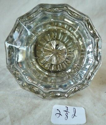 """Glass Door Knob Antique 12 point BRASS & CRYSTAL LARGE SIZE 2 3/8"""" dia (single)"""