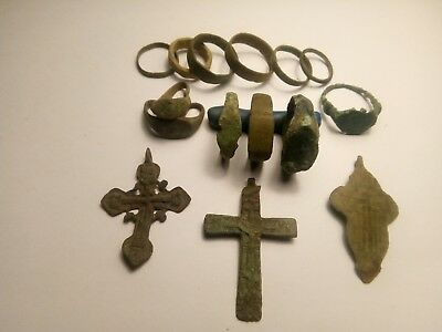 Mix  ancient  lot  rings+crosses.Metal detector finds N16
