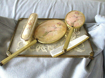 Vintage Dressing 5 piece Table Vanity Grooming Embroidery Set & Glass embroidery