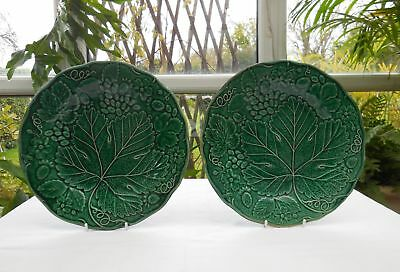 Antique Rare Till Pottery Green Grape & Strawberry Majolica Plates x 2 c1850-61
