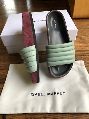 cc3107bd0dac ISABEL MARANT HELLEA Quilted Sandals Black Leather 36 US 6 EUC ...