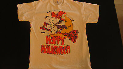 Peanuts -Halloween Tee Shirt Snoopy & Woodstock On Broom  Whitchs Hat Large
