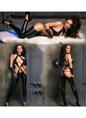 Black Faux PVC Fetish Catsuit Open Crotch with Gloves and Thong BNWT fits 8, 10