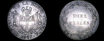 1847 Colombian 10 Reales World Silver Coin - Colombia - Nueva Granada - KM#107