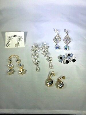 Lot of 6 Pair of Sparkly Rhinestone Pierced Earrings - Clear & Other - Vintage