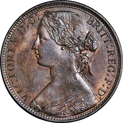 1868 Penny, Victoria. Uncirculated.  Spink 3954. Rare (R8). Spink Values £1150.