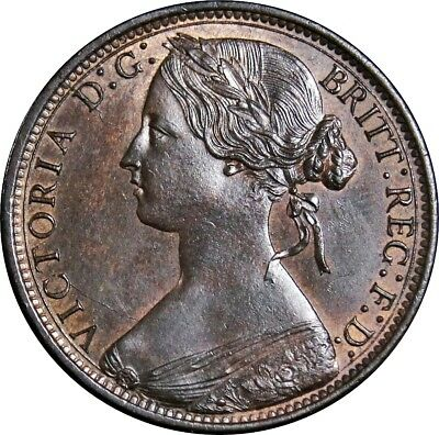1867 Penny, Victoria. Uncirculated.  Spink 3954. Rare (R7). Spink Values £1100