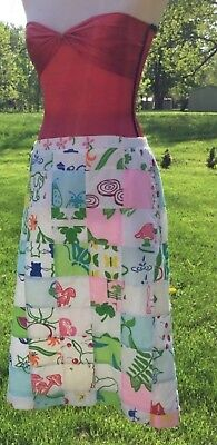Vested Gentress Long Vintage Skirt Sz 12 Horse Bird Frog Cat Fox Achor Quilted