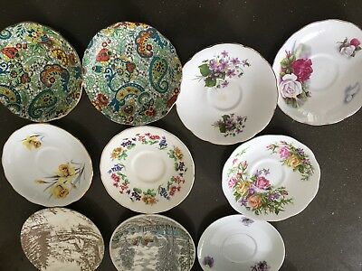 Deceased Estate China Plates Stamped X 10 Floral Patterns Gold Trim
