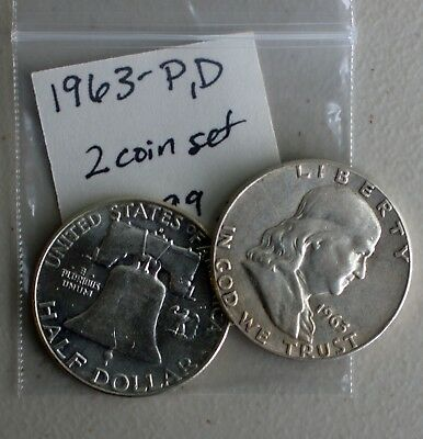 1963 P & D Franklin Silver Half Dollars 2 Coin Lot TWO 50c Average Circ US Coins