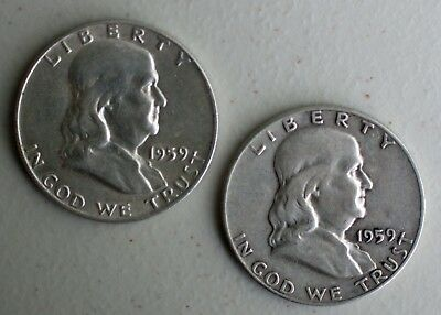 1959 P & D Franklin Silver Half Dollars 2 Coin Lot TWO 50c Average Circ US Coins