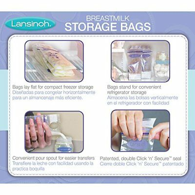Lansinoh Breastmilk Storage Bags With Convenient Pour Spout and Patented Double&