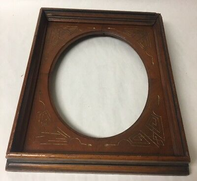 Antique Eastlake Art Nouveau Secessionist Carved Wood Picture Frame