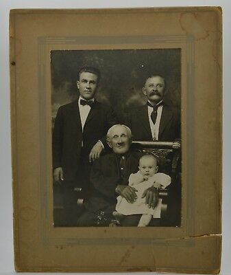 Large Antique Photograph Blind Man 3 Men and a Baby CREEPY