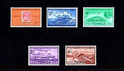 Tonga - 1962 - Postal Service - Queen - Ship - Plane ++ 5 X Mint - Mnh Set!