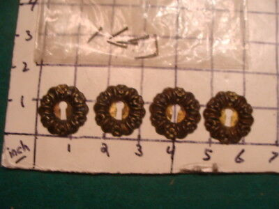 Vintage 4 metal decrotive key hole covers for furniture -- OLD, ORIGINAL