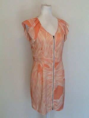 TEMT Size 10 Pink/Cream Flounced Dress With Front Zip Party Cocktail Work