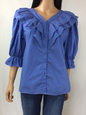 Mondiki Square Dancing Top Blue Ruffle Pearl Snap Western Country Size M