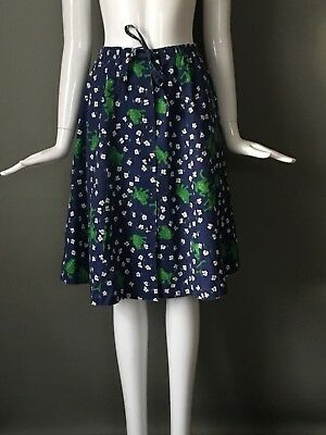 Super Cute Vtg 70s Navy Green Frog Print Cotton Skirt Indie Novelty S M