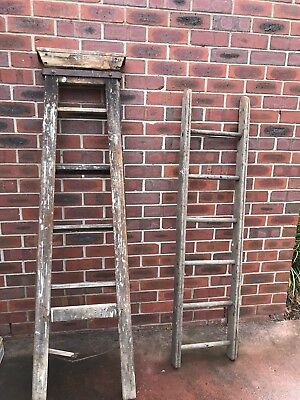 Antique Timber Ladders x2
