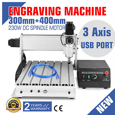 Usb Cnc Router Engraver Engraving Cutter 3 Axis 3040T-Dq Crafts 300X400Mm Arts