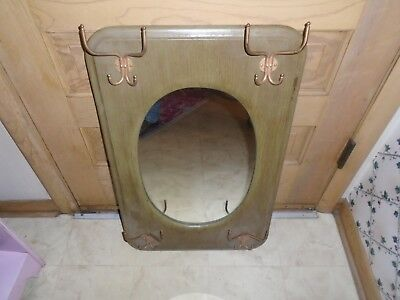 Vintage Wood Mirror Wooden Wall Coat Rack & Hat Rack Hanging