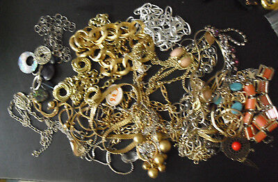 Large Lot of Vintage Unsorted Metal Costume Necklaces